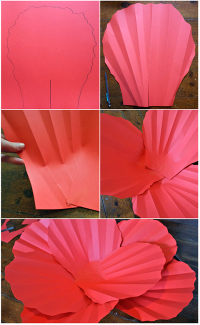 How to make a flowers & rosettes. Giant Paper Flowers - Step 4