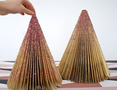 How to make a christmas tree. Diy Glitter Trees - Step 6