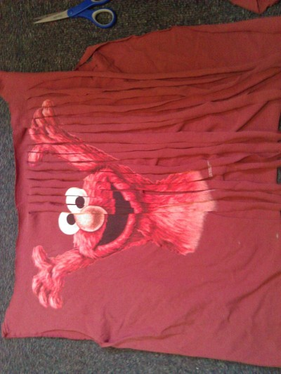 How to make a shawl. I Killed Elmo Tee To Shawl - Step 3