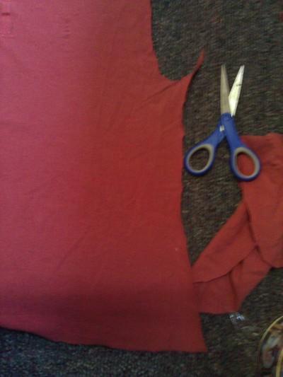 How to make a shawl. I Killed Elmo Tee To Shawl - Step 4