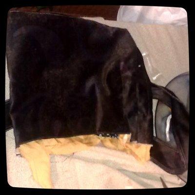 How to make a shoulder bag. Brown Velvet  Sack   Handbag (Ikea Pattern) - Step 5