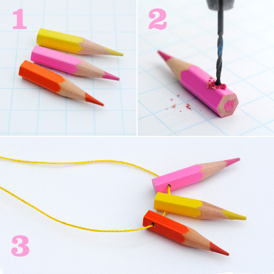 How to make a recycled necklace. Pencil Crayon Jewelry - Step 7