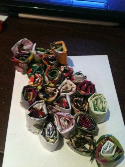 How to make  an embellished card. Recyled Magazine Swirl Cards  - Step 7