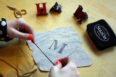 How to embroider . DIY Embroidered Monogram - Step 3
