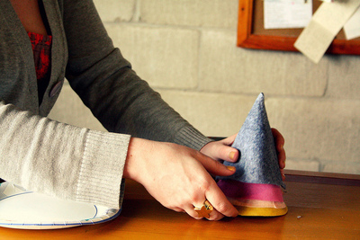 How to make a party hat. Felt Birthday Hats - Step 3