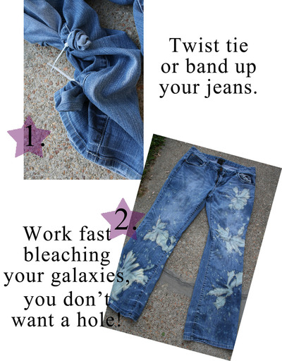 How to make jeans. Dyed & Bleached Galaxy Print Jeans - Step 1