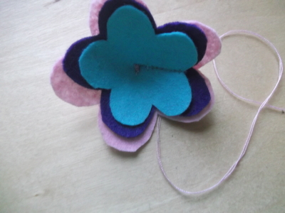 How to sew a fabric flower charm. 3 D Flower!! - Step 5