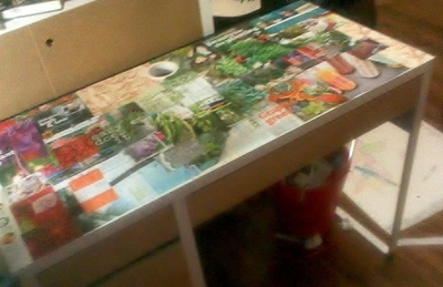 How to make a table. Decoupage Desk - Step 3