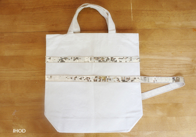 How to make an embellished tote. Sequin Tote - Step 2