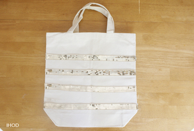 How to make an embellished tote. Sequin Tote - Step 3
