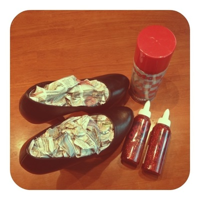 How to decorate a pair of glitter shoes. Ruby Red Platform Heels - Step 1