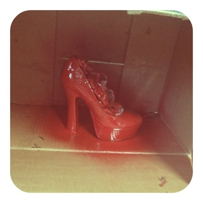 How to decorate a pair of glitter shoes. Ruby Red Platform Heels - Step 3