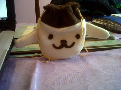 How to sew a fabric character pouch. Diy: Purin Pouch - Step 7