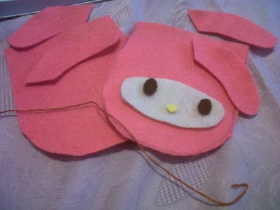 How to sew a fabric character pouch. My Melody Pouch - Step 1
