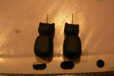 How to sculpt a set of clay animal earrings. Kit Cat Clock Inspired Jewellery Set - Step 5