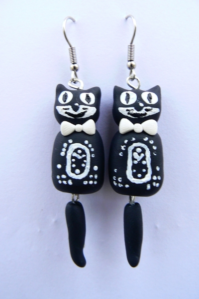 How to sculpt a set of clay animal earrings. Kit Cat Clock Inspired Jewellery Set - Step 14