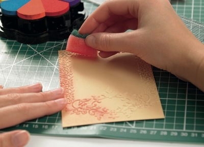 How to emboss an embossed card. Surface Embossing - Step 2