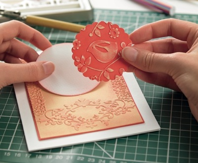 How to emboss an embossed card. Surface Embossing - Step 6