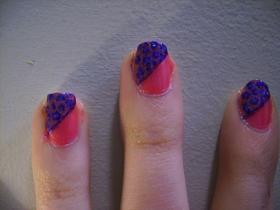 How to paint an animal nail. Funky Half Glittery Leopard Print Nail Design - Step 5
