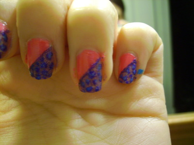 How to paint an animal nail. Funky Half Glittery Leopard Print Nail Design - Step 6