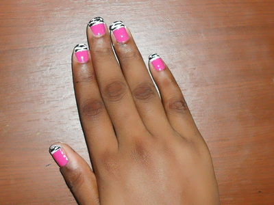 How to paint an animal print nail. Pink Zebra Nails - Step 9