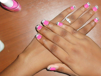 How to paint an animal print nail. Pink Zebra Nails - Step 10