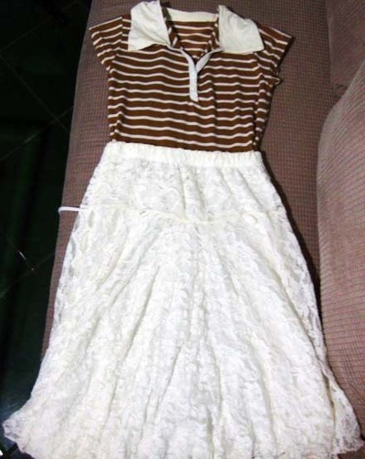How to recycle a skirt into a dress. Old Top + Unused Skirt = Perfect Dress - Step 3