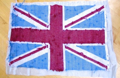 How to make a stitched cushion. Union Jack Tapestry Cushion - Step 11