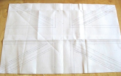 How to make a stitched cushion. Union Jack Tapestry Cushion - Step 2