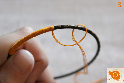 How to make a wrapped bangle. Thread Wrapping - Step 3