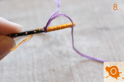 How to make a wrapped bangle. Thread Wrapping - Step 8