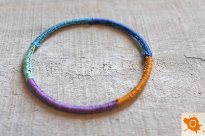 How to make a wrapped bangle. Thread Wrapping - Step 11