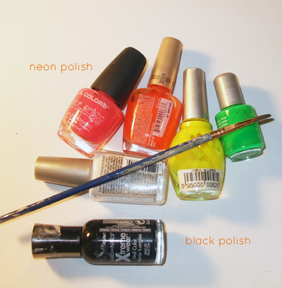 How to paint an animal print nail. Neon Zebra Nails! - Step 1