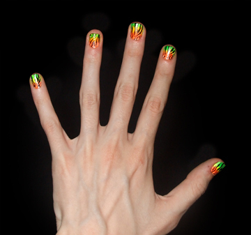 How to paint an animal print nail. Neon Zebra Nails! - Step 6