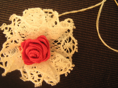 How to make a lace hair bow. Lovely Rose And Lace Hairpin - Step 14