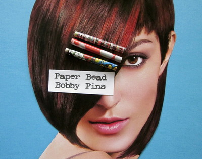 How to make a recycled hair clip. Fun & Funky Paper Bead Bobby Pins - Step 5