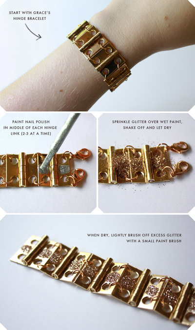 How to make a hardware bracelet. Diy Glitter Door Hinge Bracelet - Step 1