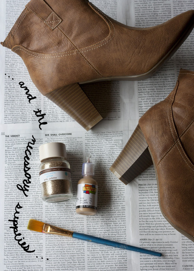 How to decorate a pair of glitter shoes. Diy Sparkle Glitter Boots - Step 1
