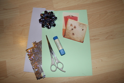 How to embellish a bow card. Birthday Card (With The Present!) - Step 1