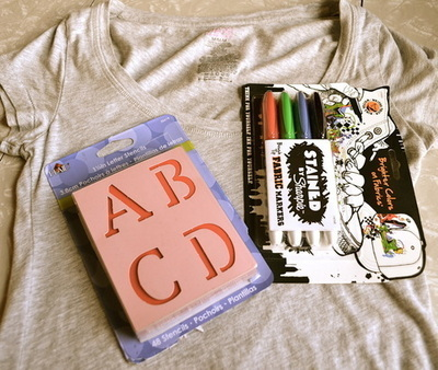 How to make a decorated top. Zombies, Run! Stencilled T Shirt. - Step 1