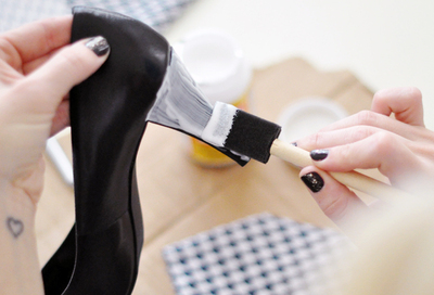 How to make a pair of fabric covered shoes. Houndstooth Shoes  - Step 2