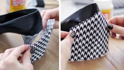 How to make a pair of fabric covered shoes. Houndstooth Shoes  - Step 3