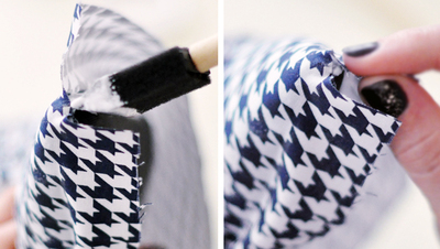 How to make a pair of fabric covered shoes. Houndstooth Shoes  - Step 9