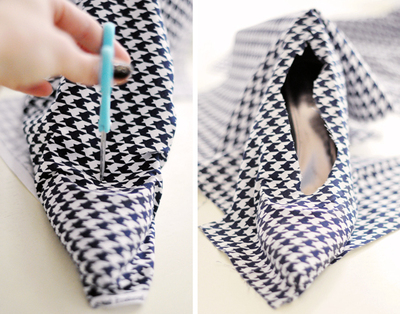 How to make a pair of fabric covered shoes. Houndstooth Shoes  - Step 10