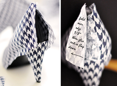 How to make a pair of fabric covered shoes. Houndstooth Shoes  - Step 13