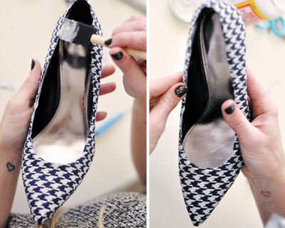 How to make a pair of fabric covered shoes. Houndstooth Shoes  - Step 15