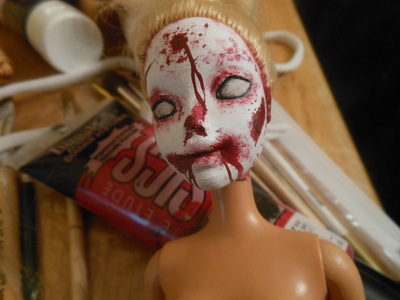 How to make a toy charm. Zombie/Monster Barbie Keychain - Step 4