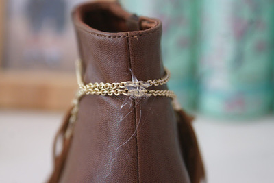 How to make a pair of embellished shoes. Diy Fringe Shoes - Step 3