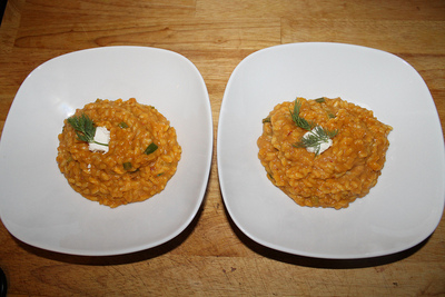 How to cook risotto. Pumpkin And Goat Cheese Risotto - Step 7