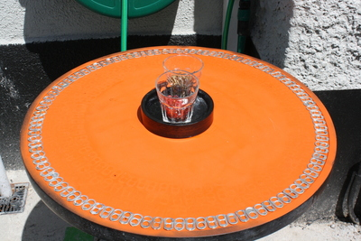 How to make a recycled table. Upcycle An Old Table With Pull Tabs  - Step 2